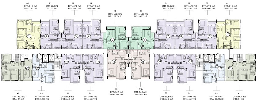 Mặt bằng tầng 10-21 saigon skyview quận 8