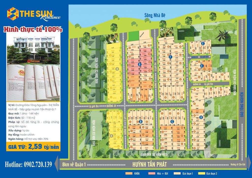 Mặt bằng Phân lô dự án The Sun Residence Nhà Bè TPHCM