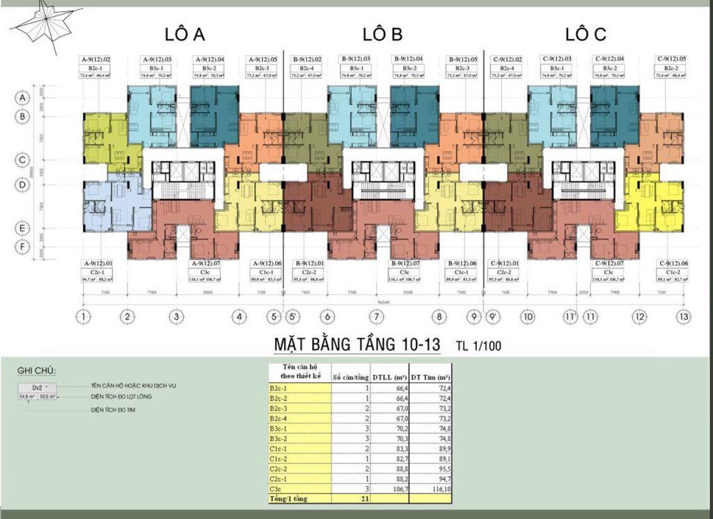 Mặt bằng tầng Chung Cư An Hội 3 - Resco An Hội 3 tầng 10-13