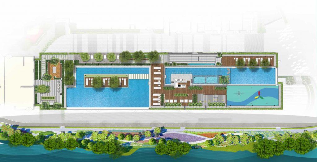 Tiện ích căn hộ Dlusso Quận 2 tầng 3-khu bể bơi
